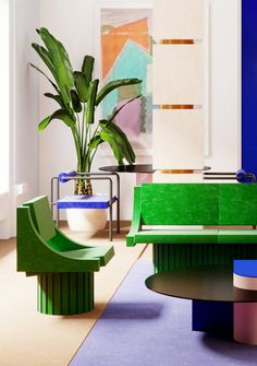 Discover the New Memphis apartment by Supaform studio, whose main purpose is to create uncommon, almost visionary spaces and objects. Luxury Interior, Modern Interior, Interior Styling, Interior Design, Geometric Furniture, Colorful Furniture, Apartment Makeover, Apartment Design, Mustard Walls