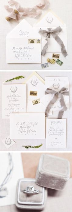 Gray fine art wedding. Invitations by Tiger Lily Invitations Ring box by The Mrs. Box Last photo by Hannah Forsberg