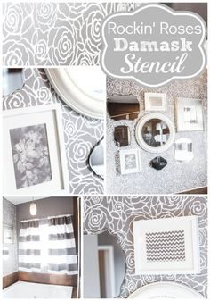 Master Bathroom Makeover in beautiful shade of gray – Rockin' Roses Damask Stencil