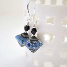 Lampwork Earrings Navy Blue Earrings Glass Bead by bstrung on Etsy
