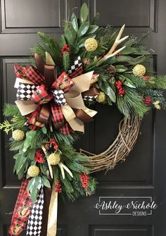 50 Best Christmas Door Decorations for 2019 🎄 - The Trending House Christmas Reef, Christmas Door, Plaid Christmas, Rustic Christmas, Christmas Crafts, Christmas Time, Christmas Greetings, Christmas Ideas, Buffalo Check