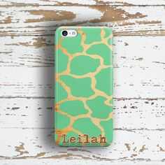 For this teenage girls phone case design, I used a giraffe animal print in mint green and gold. I have finished this monogrammed case with your