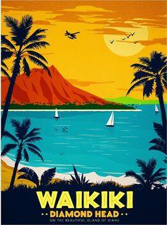 Hawaii Hawaiian Diamond Head Oahu Waikiki U.S.Travel Advertisement Poster in Posters | eBay