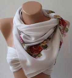Shawl  Cotton Scarf  Headband  Necklace Shawl by womann on Etsy, $15.90