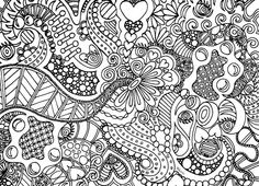 """Instant Download Coloring Page Hand Drawn Zentangle Inspired """"Eye Spy"""" Abstract Zendoodle Doodle Hippie By Kat"""