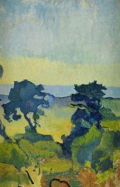 Ivan Agueli - kustlandskap med två träd, gotland