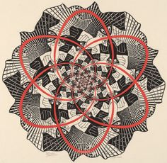 Escher, M.C. Dutch, 1898 - 1972 Path of Life III 1966 woodcut in red and black, printed from two blocks on japan paper image (diameter): 37 cm (14 9/16 in.) sheet: 47 x 44.4 cm (18 1/2 x 17 1/2 in.) Bool 1981, no. 445 Cornelius Van S. Roosevelt Collection