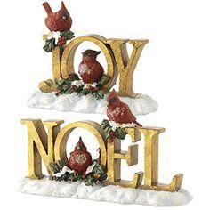 JOY & NOEL Antique Gold Cardinal Signs - Sold Individually -  Price : $16.95 http://www.perfectlyfestive.com/RAZ-Imports-Antique-Cardinal-Signs/dp/B00NUVSNH8
