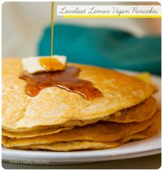Loveliest Lemon Vegan Pancakes. Comfort Food Breakfast.