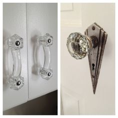 New cabinet hardware to match the glass art deco doorknobs. Retro Redo, Vintage Kitchen.