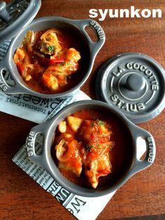 【レンジで一発!!】めっちゃおすすめです。タッパー1つで絶品チキンのトマト煮&チーズ焼き | 山本ゆりオフィシャルブログ「含み笑いのカフェごはん『syunkon』」Powered by Ameba Home Recipes, Asian Recipes, Ethnic Recipes, Cocotte Staub, Dessert Recipes, Desserts, Japanese Food, Chicken Recipes, Curry