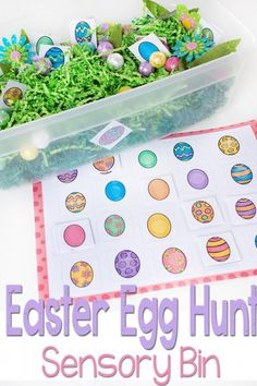 Free Printable Matching Easter Eggs Sensory Bin