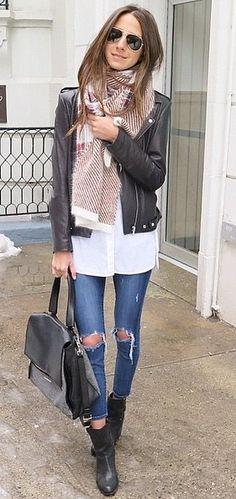 Contrasting a Slick Leather Jacket