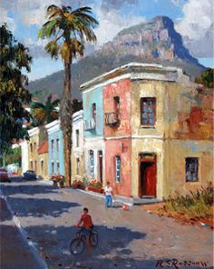 Old Malay houses with Lion's Head, Cape Town - paintings by Roelof Roussouw Landscape Art, Landscape Paintings, Landscapes, Monuments, African House, African Art Paintings, South African Artists, City Art, Art Sketchbook