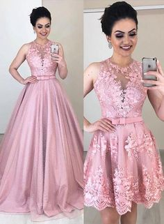 Pink Lace Removable Skirt Long A Line Formal Prom Dress With Bowknot B – shinydress Pink Prom Dresses, Event Dresses, Day Dresses, Homecoming Dresses, Bridesmaid Dresses, Formal Dresses, Dress Prom, Formal Prom, Evening Gowns