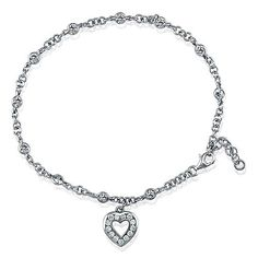 Sterling Silver Anklet Ankle Bracelet Cubic Zirconia CZ Heart Charm from Berricle - Price: $46.99