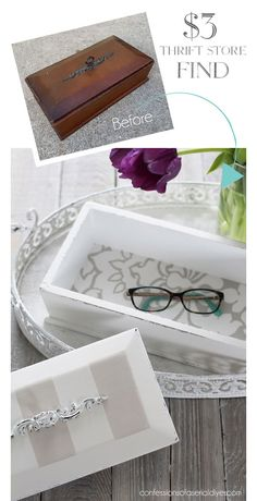Thrift Store Boxes Reloved – Famous Last Words Thrift Store Outfits, Thrift Store Shopping, Thrift Store Crafts, Thrift Store Finds, Thrift Stores, Goodwill Finds, Diy Upcycled Art, Upcycled Furniture Before And After, Jewelry Box Makeover