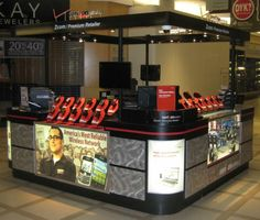 Here's a Verizon kiosk we built that's all set up with phones and posters and everything. Cell phone kiosks come with a lot of custom parts that other types of businesses don't need. We take care of all the details!