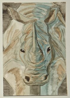 White Rhino water colour postcard
