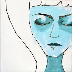 mixed technique - canvas 30x30cm - #illustration #fashion #portrait #face #woman #girl #canvas #painting #drawing #sketch