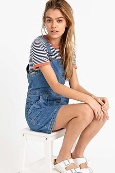 Urban Outfitters Denim Dungaree Dress in Blue