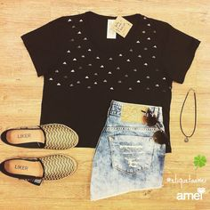 Good luck  Gargantilha pingente trevo de quatro folhas. #lojaamei #sorte #vida #cropped #etiquetaamei #jeans
