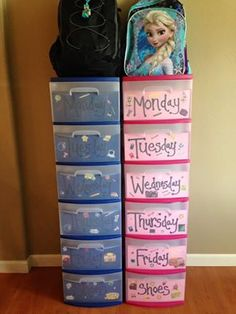 Monday-Friday School Outfits + a place to put their shoes & backpack!  Got these containers from Wal-mart. They are (2) 3 drawers that will snap together when you take the top piece off to make a whole 6 drawer tower. Also I just taped paper with the weekdays on the inside of the drawers and let the kids add school stickers. These can easily be changed at any given time if you want to use them for something different later on.