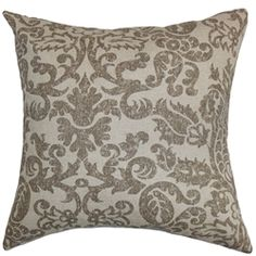 """Finish off your home furnishings by adding this floral throw pillow. This decor pillow features an eye-catching floral design in shades of gray and set against a natural background. This square pillow brings warmth and dimension to your living room, bedroom or lounge area. This 18"""" pillow is made from 100% soft and plush cotton material. This accent pillow is easy to care and maintain. $55.00 #throwpillow #tosspillow #decors"""