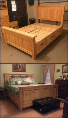 Farmhouse Bed with Drawers diyprojects. Need a good bed with storage? - Farmhouse Bed with Drawers diyprojects.ideas… Need a good bed with storage? Bed Frame With Storage, Diy Bed Frame, Bed Storage, Bedroom Storage, Storage Spaces, Bed Frames, Diy Bedroom, Diy Queen Bed Frame, Queen Beds With Storage