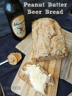 Homemade Peanut Butter Beer Bread via thefrugalfoodiemama.com #beerbread #peanutbutter #craftbeer