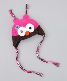 Hot Pink & Brown Owl Ear flap Beanie