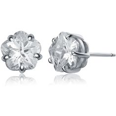 Collette Z Sterling Silver Cubic Zirconia Flower Stud Earrings ($15) ❤ liked on Polyvore