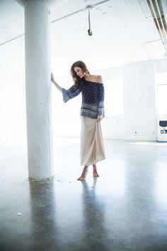 #lovebobeau Spring 2015 Bobeau Knit Maxi Skirt and Navy Peasant Blouse #offtheshoulder #studio