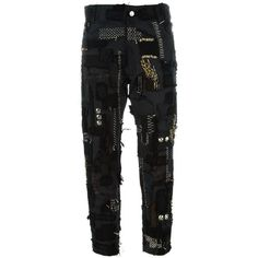 Heikki Salonen Skinny Fully Patched 5 Pocket Jean (€1.115) ❤ liked on Polyvore featuring jeans, black, patched skinny jeans, 5 pocket jeans, slim fit jeans, super skinny jeans and skinny fit jeans