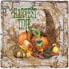 Harvest Time On Vintage Tin Painting