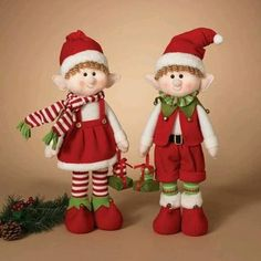 Gerson 23 in. Plush Elf Shelf Sitters - Set of 2 - Place this Gerson 23 in. Plush Elf Shelf Sitters - Set of 2 around your home to be Santa's eyes and ears this holiday season. Elf Christmas Decorations, Felt Christmas Ornaments, Diy Ornaments, Beaded Ornaments, Christmas Elf Doll, Christmas Art, Homemade Christmas, Christmas Knitting Patterns, Elf On The Shelf