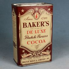 Baker's de.Luxe Breakfast Cocoa Tin - Vintage Cardboard Body Tin Top #Bakers