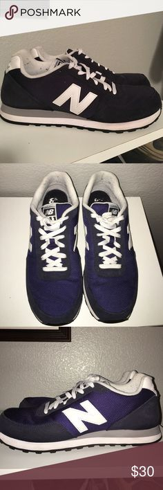 Men's new balance tennis shoe sneaker Men's new balance tennis shoe sneaker. Size 9.5. Excellent used condition. Only a little sign of wear around the inside near the heels. Bottom is very clean and you can see these have barely been worn. Navy blue and white with gray and white soles. New Balance Shoes Sneakers