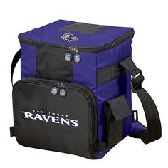 Baltimore Ravens NFL 18-Can-Cooler Bag by Optimum Fulfillment. $23.88. The pouch pocket on the front of the North Pole NFL 18-Can-Cooler Bag means you can make this the only thing you need to bring to the party on game day. The adjustable strap makes it easy to carry. Inside this soft sided ice chest sits a waterproof interior liner, designed to hold up to 18 cans. The flexible insulated outside of the bag is made of a high-quality 70 denier nylon. Screened team logo and na...