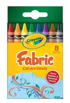 Crayola fabric crayons - rock your art, then iron it on.