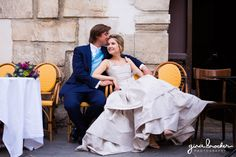 Relaxed Wedding Portraits in a French Cafe - Paris Love Story by Gina Brocker Photography