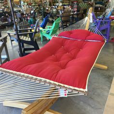 One of the many pillow top hammocks available at The Backyard & Patio Store. Patio Store, Afternoon Nap, Barcelona Chair, Hammocks, Backyard Patio, Outdoor Living, Cozy, Pillows, Furniture