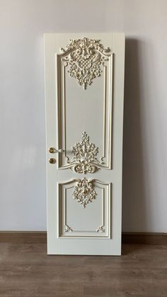 """Luxurious interior doors """"Versailles"""" with gold leaf. Finish: white enamel and gold potal. Baroque style oak door by Stavros. Door Gate Design, Room Door Design, Door Design Interior, Interior Doors, Oak Doors, Wooden Doors, Classic Interior, Luxury Interior, Woodworking Ideas Table"""