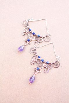 Wire Lapis Lazuli Earrings Amethyst by SusyDeMarchiJewelry on Etsy