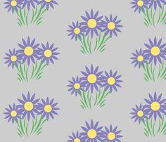 Danita's Purple Flowers on Gray fabric by midcoast_miscellany on Spoonflower - custom fabric