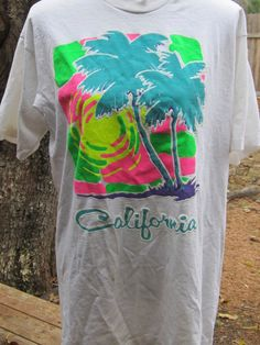 2087a142 Items similar to Vintage 1980's California Day glo neon tropical surfer  beach T shirt-XL on Etsy