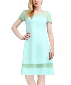Take a look at the Mint Sheer-Yoke Cap-Sleeve Dress on #zulily today!
