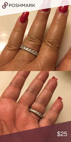 Sterling silver ring Sterling silver princess stone eternity band right absolutely beautiful Jewelry Rings