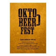 Oktoberfest Beer Drinking Gold Party Invitation http://www.oktoberfesthaus.com