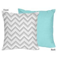 Sweet Jojo Designs Zig Zag Throw Pillow in Grey/Turquoise - buybuyBaby.com